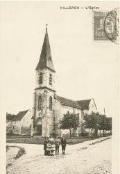 Ancienne carte postale de l'Église Saint-Germain d'Auxerre, Villeron